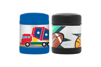 2pc Thermos Funtainer 290ml Food Jar Flask Construction Vehicles Multi Sports
