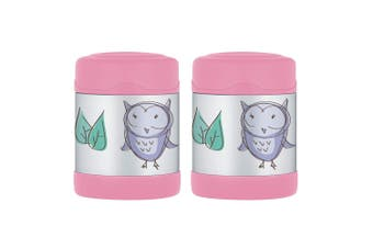 2PK Thermos Funtainer 290ml Food Jar Stainless Steel Vacuum Insulated Pink Owl