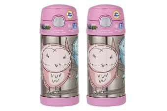 Thermos Funtainer 355ml Insulated Stainless Steel Water Drink Bottle Pink Owl