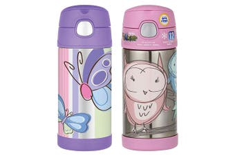 2pc Thermos Funtainer 355ml Insulated Stainless Steel Water Bottle Owl Butterfly