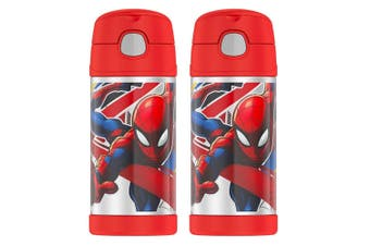 2PK Thermos 355ml Funtainer Insulated Stainless Steel Drink Bottle Spiderman Red