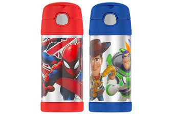 2pc Thermos 355ml Funtainer Insulated Drink Water Bottle Spiderman Toy Story