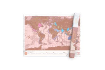Luckies Scratch Map Rose Gold Large 825 x 594 mm Scratch Off Travel Foil Map