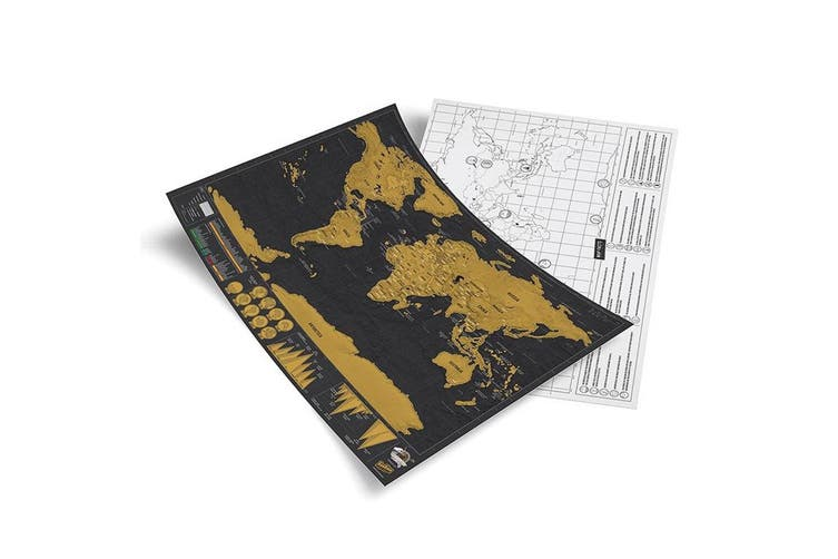 Luckies 42cm Scratch Off World Map Deluxe Travel Edition Home Decor Black Gold