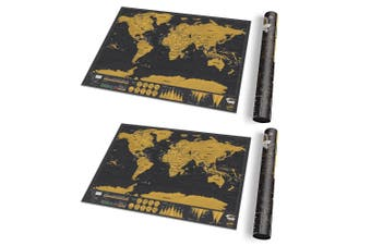 2PK Luckies 42cm Scratch Off World Map Deluxe Travel Edition Home Decor BLK Gold
