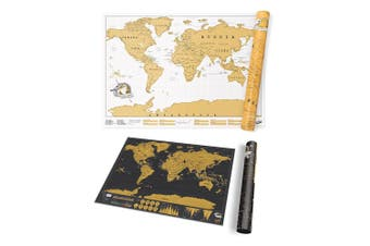 2pc Luckies World Map Scratch Off Travel Edition 42cm & 82.5cm Scratch Map Decor