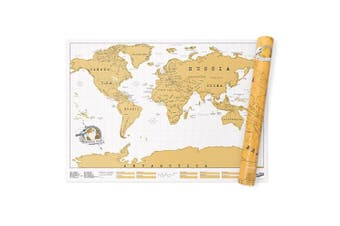 Luckies 82.5cm Scratch Off World Map Travel Poster Large Home Room Decor Brown