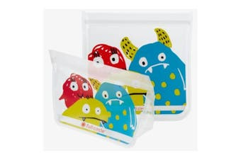 2pc Full Circle Kids School Reusable BPA Free Snack Food & Sandwich Bags Monster