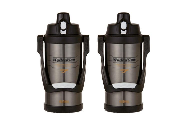 2PK Thermos Hydration 2L Vacuum Insulated Water Bottle Tumbler w  Handle Grey