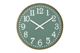 Amalfi Thomas 60cm Analogue Beech Wood Wall Clock Home Decor Mountable Green