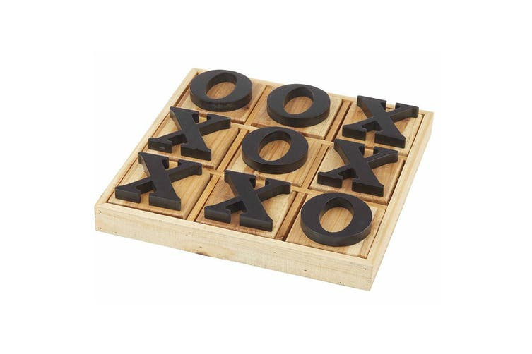 Amalfi 36cm Fir Wooden Noughts and Crosses Game Board Decor Play Tic Tac Toe