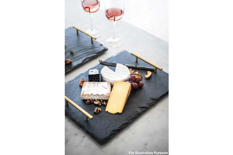 Maxwell & Williams Mezze Slate Serving Tray 40 x 15cm Gold Handles Tableware