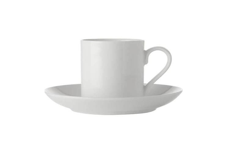 Maxwell & Williams White Basics Straight Demi Cup and Saucer 100ml Porcelain