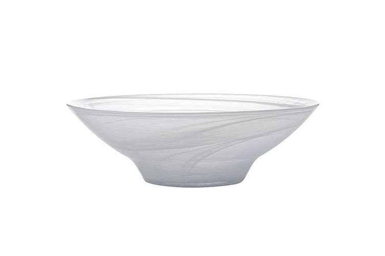 Maxwell & Williams 26cm Marblesque Serving Glass Tableware Soup Salad Bowl White
