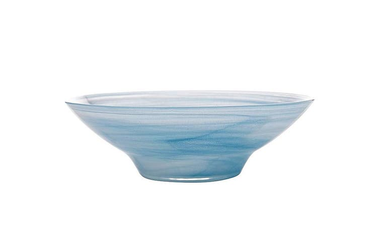 Maxwell & Williams 32cm Marblesque Serving Tableware Soup Salad Glass Bowl Blue