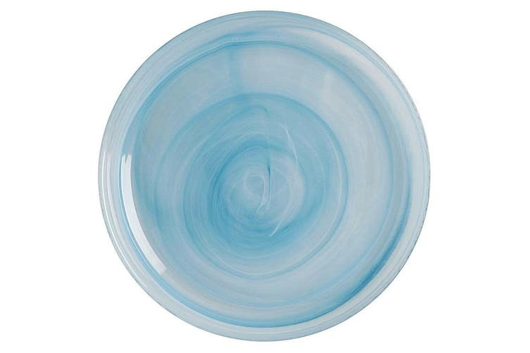 Maxwell & Williams 39cm Marblesque Dinner Serving Food Dish Plate Glass Blue