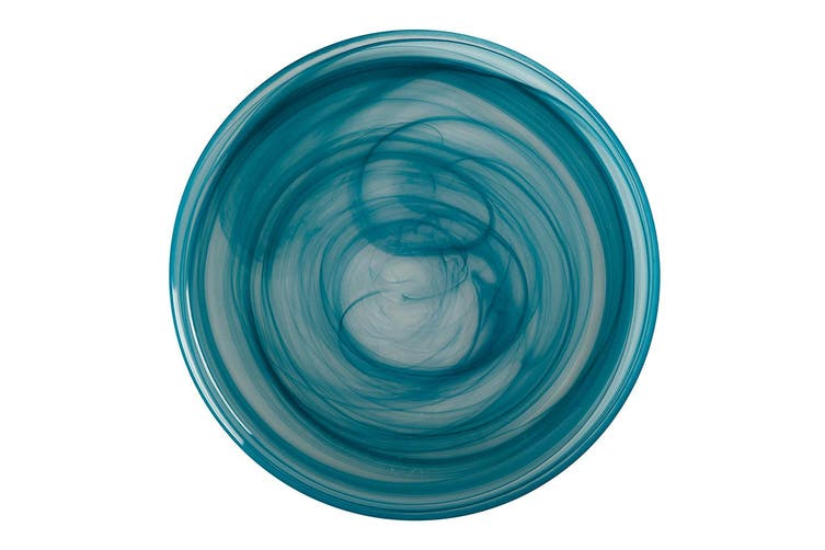 Maxwell & Williams 34cm Marblesque Glass Food Serving Platter Tableware Teal