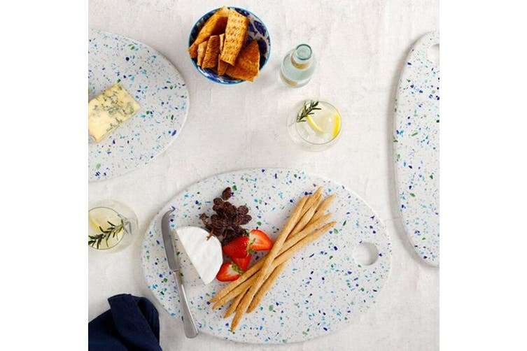 Maxwell & Williams Reef 36x26cm Oval Terrazo Serving Board Dinner Platter White