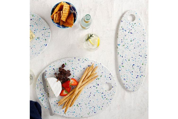 Maxwell & Williams Reef 40x30cm Oval Terrazo Serving Board Dinner Platter White