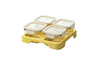 4pc Glasslock 210ml Glass Baby Food Container Set Oven Microwave Safe w Tray