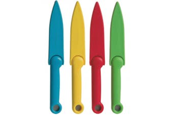 4pc Progressive Stainless Steel Safety Paring Knives w  Blade Cover Multi Colour