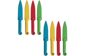 8pc Progressive Stainless Steel Safety Paring Knives w  Blade Cover Multi Colour