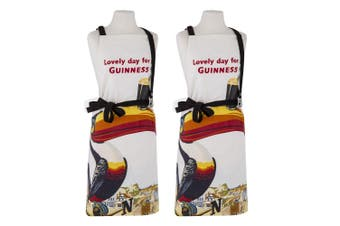 2x Guinness Gilroy Adjustable Apron Chef Kitchen Cooking w  Bottle Opener Cream