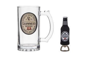 Guinness Original Label 400ml Tankard Beer Glass w  13cm Magnet Bottle Opener
