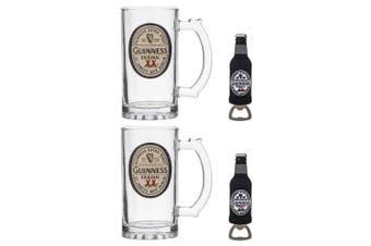 2x Guinness Original Label 400ml Tankard Beer Glass w  13cm Magnet Bottle Opener