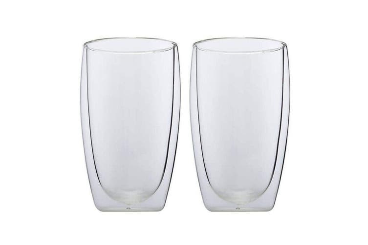 2pc Maxwell & Williams Blend 450ml Double Wall Cup Mugs Borosilicate Glasses CLR