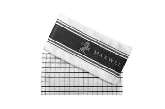 2pc Maxwell & Williams Epicurious 70x50cm Tea Towel Kitchen Dish Cloth Charcoal