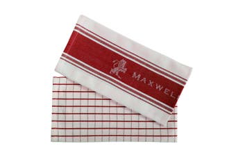 2pc Maxwell & Williams Epicurious 70x50cm Tea Towel Kitchen Home Dish Cloth Red