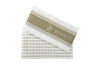 2pc Maxwell & Williams Epicurious 70x50cm Tea Towel Kitchen Dish Cloth Taupe