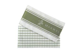 2pc Maxwell & Williams Epicurious 70x50cm Tea Towel Kitchen Dish Cloth Olive