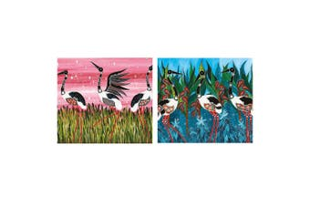Maxwell & Williams Melanie Hava 50x70cm Tea Towel Set Jabirus Pink Jabirus Blue