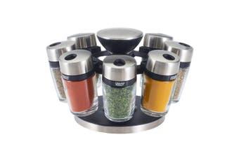 9pc Cole & Mason Glass Jar Herb & Spice Carousel Rack Organiser Storage Silver