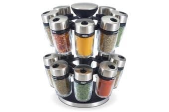 17pc Cole & Mason Glass Jar Herb & Spice Carousel Rack Organiser Storage Silver