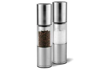2pc Cole & Mason Manual Salt & Pepper Mill Grinder Stainless Steel Silver Clear