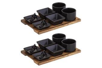 2x 9pc Fine Foods Tasting Set Kitchen Bowls Spoons Dish w  Acacia Tray Board BLK