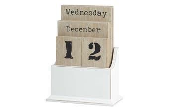 Emporium Desk Analogue Manual Calendar MDF Wood White Table Office Home Decor