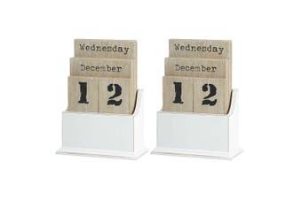 2x Emporium Desk Analogue Manual Calendar MDF Wood White Table Office Home Decor