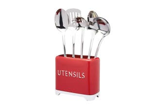 KitchenCraft Lovello 20cm Utensils Holder Spoons Forks Knives Storage Tin Red