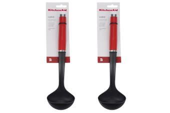 2x KitchenAid Classic Nylon Ladle Cooking Kitchen Utensils Heat Resistant Red