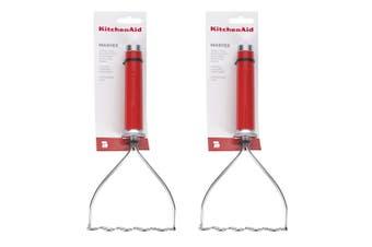 2x KitchenAid Classic 26cm Stainless Steel Potato Vegetable Masher Utensil Red