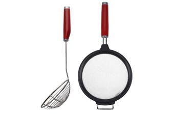 KitchenAid Classic Stainless Steel 17.5cm Mesh Strainer & 13cm Strainer Set Red