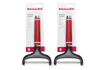 2x KitchenAid Classic Stainless Steel 20x12cm Hard Soft Cheese Slicer Empire Red