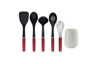 6pc KitchenAid Utensil Ceramic Crock Set w Ladle Turner Whisk Slotted Spoon Red