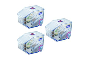 3PK Lock & lock Plastic Rice Case 12L Container Storage Organiser w  Cup Clear