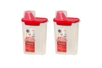 2x Lock & Lock 2L Spout Pour Laundry Detergent Softener Container w  Measure Cup
