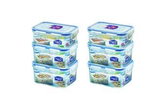 6PK Lock & Lock 350 470ml Plastic Food Snacks Storage Container Set Value Pack